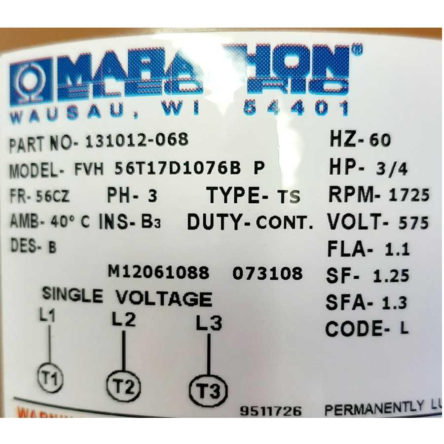 Motor Rating Plate